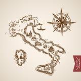 Italy peninsula Sardinia island engraving lineart vintage vector Stock Photos