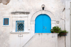 Italy, peschici, front door of a typical house Stock Image