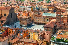 Italy Piazza Maggiore in Bologna old town royalty free stock photography