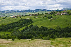 Italy - picturesque rural. Idyllic rural view of hills with farmland, woods and village in background , in the beautiful surroundings of Sassuolo, Province of Stock Image