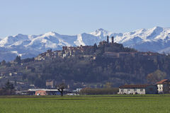 Italy: Piemontese landscape. Mountains and city of Mondovi in Piemonte, Italy. Spring time and sunny day Stock Photo