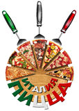 Italy Pizza on cutting board in Russian Language Royalty Free Stock Photos