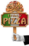 Italy Pizza - Sign with Hand of Waiter Stock Photography