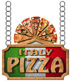 Italy Pizza - Wooden Sign with Metal Chain Stock Images
