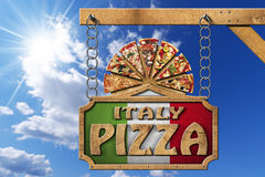 Italy Pizza - Wooden Sign with Metal Chain Stock Photos