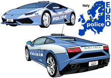 Italy Police Car. Colored Illustration from Series Europol, Vector Stock Photography