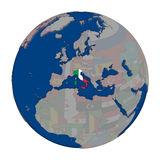 Italy on political globe Royalty Free Stock Photo