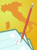Italy Political vote. Illustration with paper and pencil for political vote in Italy vector illustration
