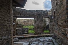 italy pompei 02,01,2018 Hemmet av den forntida romaren fördärvar, Royaltyfria Bilder