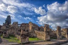 italy pompei 02,01,2018 Hemmet av den forntida romaren fördärvar, Arkivfoto