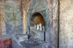 Painting in a house of Pompeii, an ancient Roman town destroyed Royalty Free Stock Images