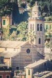 italy portofino HelgonMartin San Martino kyrka Royaltyfria Foton