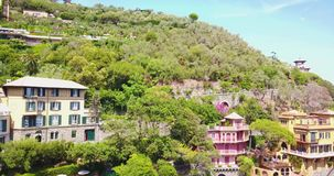 Italy portofino shot from top. With aeriel view in 4k format stock video footage