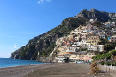 Italy - Positano. Postiano in South Italy. There are so many house and have a church. Also,you can go to the beach in Postiano stock photos
