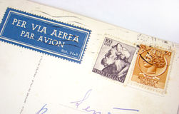 Italy postage stamps on envelope Stock Photos