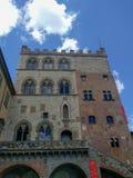 Palazzo Pretorio in Prato in a sunny day, Tuscany, Italy. Italy, Prato - July 01 2017: the view of Palazzo Pretorio on July 01 2017, Tuscany, Italy royalty free stock photos