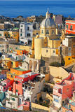 Italy. Procida island. Colorful houses of Corricella Stock Photos