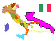 Italy, Puglia. Italy map with region and flag, puglia in evidence Stock Photos
