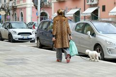 Italy, Puglia, Bari, Trani, woman with dog and fur Royalty Free Stock Photography