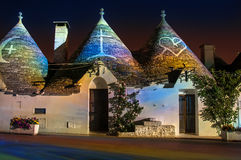 Italy Puglia Trulli Alberobello Night Royalty Free Stock Photo