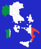 Italy puzzle map. Blue background. Some pieces out of place Stock Photography