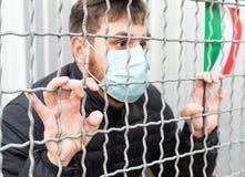 Italy quarantine, stop. Italy spreading outbreak. Novel in Europe EU. Man in medical