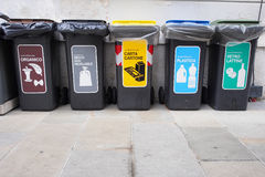 Italy. Recycling bins Stock Photos