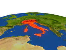 Italy in red from orbit Stock Photography