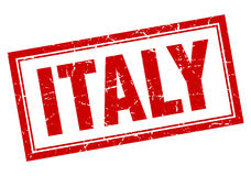 Italy red square grunge stamp. On white Royalty Free Stock Image