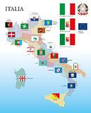 Italy, regional flags and map. Vector illustration Royalty Free Stock Photos
