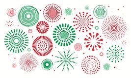 Italy Republic day fireworks set. Set of fireworks for Italian Republic in Italy flag colors, green, red. Isolated objects on white background. Vector royalty free illustration