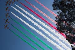 Italy Republic Day 2018 Frecce Tricolori. Italy Republic Day Military Parade June 2, 2018: Jets display tricolor flag in smoke trails above Piazza Venezia in Royalty Free Stock Photography