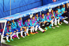 Italy reserves. The bench with the reserves of the italian national football team during the uefa euro 2016 match italy vs belgium played at lyon in france.14/6/ Royalty Free Stock Photos