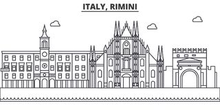 Italy, Rimini architecture line skyline illustration. Linear vector cityscape with famous landmarks, city sights, design Stock Images