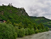 Italy-river Isarco and castle Branzoll Royalty Free Stock Images
