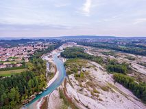 Italy river with a sandy beach. royalty free stock images