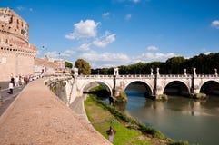 Italy - Roma - Wall leading trough Castel sant Angello and bridg Royalty Free Stock Photos