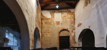 Italy romanesque church inside panorama. Italian romanesque church, inside panorama Stock Image