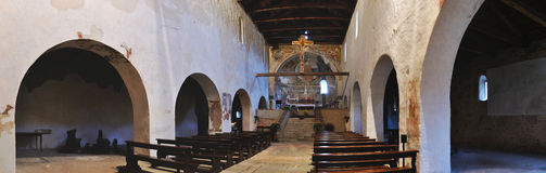 Italy romanesque church inside panorama 1. Italian romanesque church, inside panorama Stock Photo
