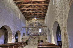 Italy romanesque church, inside view HDR Royalty Free Stock Image