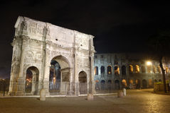 Italy Rome, Arch of Constantine and Coliseum. Rome, Arch of Constantine and Coliseum. Nocturnal Royalty Free Stock Photography