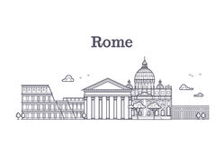 Italy rome architecture, europe skyline vector linear collection Royalty Free Stock Photography