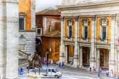 Italy,Rome, Capitoline Hill. Piazza del Campidoglio,Marcus Aurelius statue,Palazzo Senatorio royalty free stock photos
