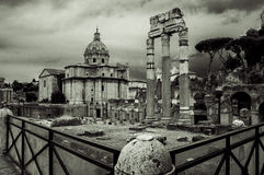 Italy,Rome, Colonnade of Forum,and church Santissimi Nome di Maria al Foro Traiano Royalty Free Stock Photography
