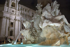 Italy Rome, Fountain of the Four Rivers in Navona square. Navona square in Rome. Fountain of the four rivers Royalty Free Stock Images