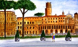 Italy. Rome. Old buildings on the avenue of Via dei Fori Imperiali, which was built in 1932 on the orders of Benito Mussolini. Watercolor drawing. City sketch Royalty Free Stock Photo