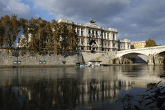 Italy , Rome. Justice Palace. Rome, Justice Palace. Reflections on river Tevere Royalty Free Stock Photography