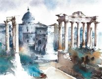 Italy Rome landmark Forum ancient buildings ruins watercolor painting illustration travel destination vector illustration