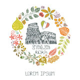 Italy Rome landmark set.Autumn leaves wreath. Italy Rome Famous landmarks with autumn leaves wreath,round  composition.Vintage hand drawn doodle  sketchy.Italian Royalty Free Stock Images