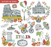 Italy Rome landmark set.Autumn leaves wteath group. Italy Rome Famous landmarks with autumn leaves wreath compositions,bike,umbrella.Vintage hand drawn doodle Royalty Free Stock Image